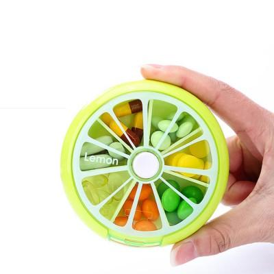 Rotate Button Mini Pill Box Plastic 7 Segmentation Pill Organizer Box for Pills & Tablets