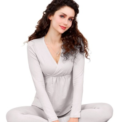 Women Nightgown, Cotton Material Breathable Inclined Collar Design Safe Confinement Suit Soft   Maternity Pajamas