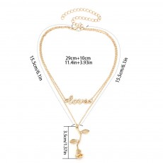 Rose & Letter Alloy Pendant Necklace, Romantic Fashionable LOVE Letter Necklace, Elegant Shape Necklace Gold Polished