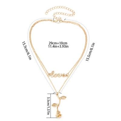 Rose & Letter Alloy Pendant Necklace, Romantic Fashionable LOVE Letter Necklace, Elegant Shape Necklace Gold Polished