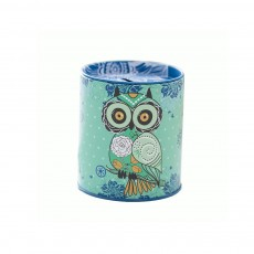 Cartoon Innovative Tinplate Piggy Bank Owl Pattern Pen Holder Stationery Storage Box