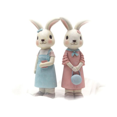 Rabbit Home Decoration Bunny Resin Figurines, Bunny Bosom Friend Hare Decorations for Home and Garden Ornaments