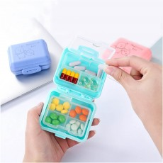 Rotate Button Mini Pill Box Plastic 7 Segmentation Pill Organizer Box for Pills & Tablets