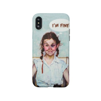 French Oil Printing Phone Case TPU Full Enclosed Protective Shell Compatible for iPhone 6 6s 7 8 XS Max XR 7P 8P with Funny Girl Print