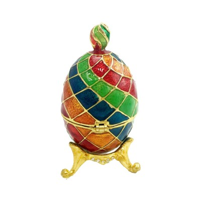 Delicate Enamel Colorful Egg Jewel Case Handiwork, Exquisite Alloy Hand-made Decoration Creative Present