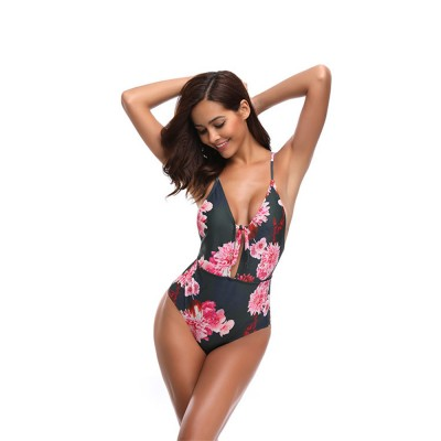2019 Latest New Style Sexy Backless Swim Wear, Deep V Neck One-piece Slim Fit Bikini Vintage Printing Floral Swimsuit