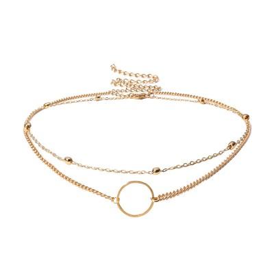 Geometric Copper Pendant Necklace, Multi-layer Simple Elegant Necklace Golden Alloy Neck Accessory