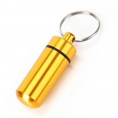 Mini Medicine Bottle Aluminium Alloy Portable Outdoor Waterproof Durable Pill Box Key Ring First Aid Pill Bottle