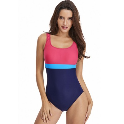 2019 Hot Style European & American Swimming Suit, Sexy Professional Women's Triangle Sport Contrast Striped One-piece Swimwear Suit