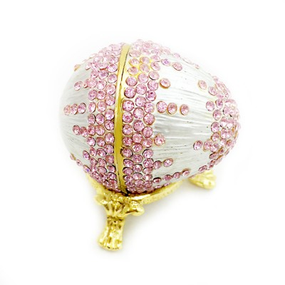 Decorative Arts and Crafts Alloy Jewelry Box Egg Painted Enamel Metal Jewelry Decoration Painting Egg Jewelry Box