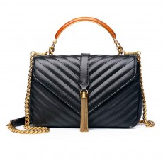 First Layer of Cowhide Handbag, Fashion Tassel V Ringer Bag for Female, with Retro Semicircle Handle