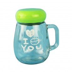 Glass Cup with Grip Handle, Cute Design Ideal for Students, Women,Girls, School Office Home Essential Glass Mug with Lid