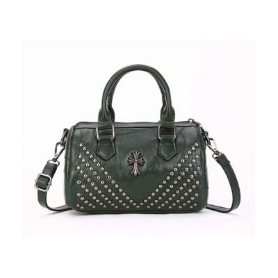Sheepskin Small Square Bag, Fashion Round Hardware Rivets Shoulder Messenger Bag