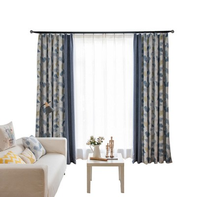 Rice Grain Printed Blackout Curtain, Nordic Wind Stitching Curtains for Living Room, Bedroom, High Quality Cloth Curtains