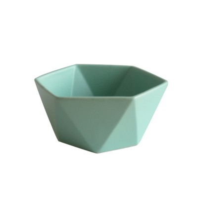Whole Colored Salad Bowl High Quality Matte Glazed Ceramic White and Green Food Container of Two Size Angular Dish