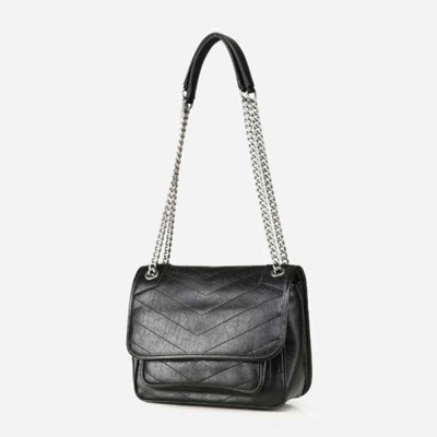 Female's Retro Selected Leather Chain Handbag, Wax Oil Leather Shoulder Bag, with Durable Zipper