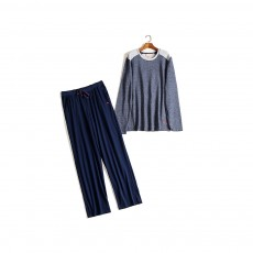 Foreign Trade Pajama for Men High Quality Soft Cotton Fabric Long Sleeves and Trousers Big and Tall Sleepwear
