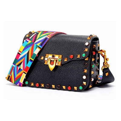 Color Thickened Cotton Wide Ribbon Shoulder Bag, Leather Diagonal Bag for Female 2019