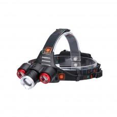 Long Lasting Zoom Headlight 3 LED Outdoor Strong Light Glare Lighting 3 Ports Charging Headlights T6