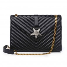 First Layer Cowhide Handbag, New Fashion Star Shoulder Diagonal Bag, with Metal Magnetic Buckle Design