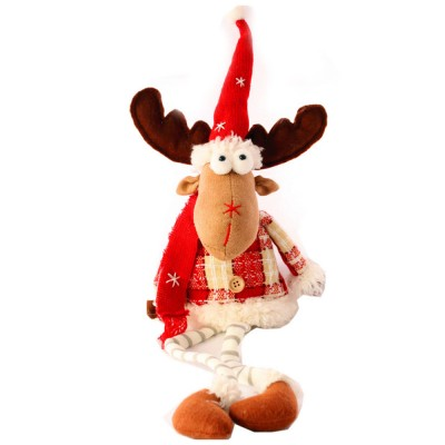 Christmas Decorations Elk Ornaments Christmas Fabric Sitting Posture Dolls Christmas Creative Toys