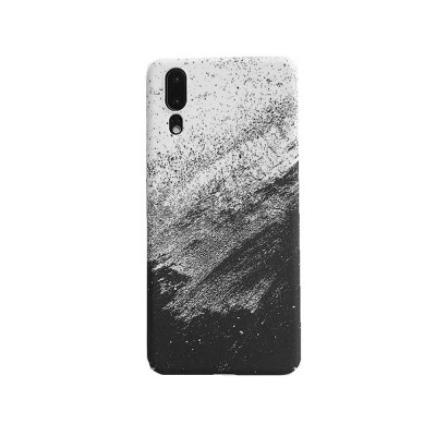 Black White Sand Painting Phone Case, Minimalist PC Hard Case for iPhone, Luxury Ultra Thin, 360°Full Protection