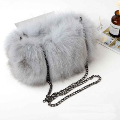 Selected Fox Fur Ladies Shoulder Bag, Beautiful Diagonal Crossing Bag, with Shoulder Strap Buckle
