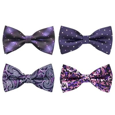 Bow Tie for Wedding Business Suit Fashionable British Style Elviro Tie Bridegroom Groomsman Used Bow Tie Purple Pink Tie European Pattern Design Tie