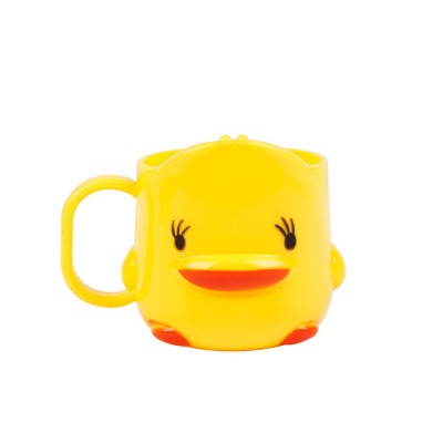 Cartoon Toothbrush Tumbler for Kids Children, Green PP Toothbrush Cup with Handle, Duck Designed Dental Care Mug