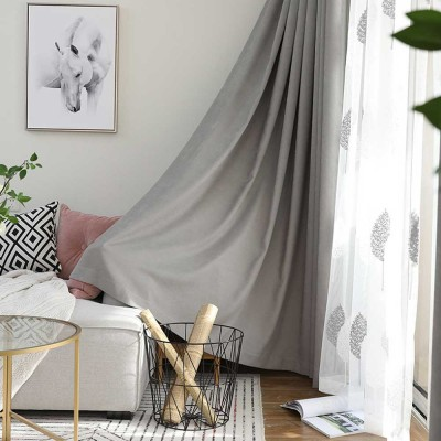 5 Color Nordic Style Curtain, Solid Color Curtains for Living Room Bedroom,  Modern Minimalist Blackout Curtain