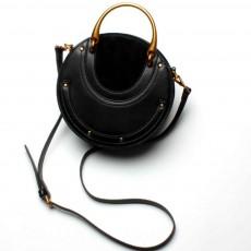 Vintage Metal Handbag, Small Round Rivet Messenger Bag, with Retro Semicircle Hardware Arm