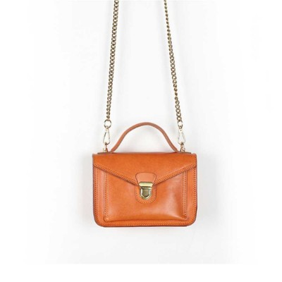 Ladies Retro Shoulder Bag, Vegetable Tanned Leather Diagonal Small Square Bag, with Texture Hardware Lock