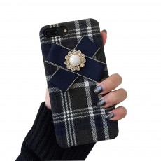 British Style Phone Case, Grain Case Cover with Bow, Luxury Ultra Soft Plaid Phone Case, Apply for iPhone, Oppo