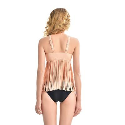 Two-piece Swimsuit for Woman, Fashionable Sexy Swimsuit with Tassels, Swimsuit with Push-up Top and High-waist Bikini Swimwear