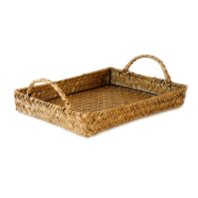 Hand Woven Fruit Tray Straw Tray Rectangular Storage Basket, Portable Seaweed Carrying Basket for Household Use