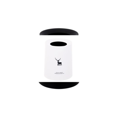 Double-layer Circular Trash Can with Creative Reindeer Pattern and Open Hatch & Internal  External Dual Pass Design