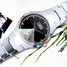 Tungsten Steel Watch for Men Fashion Cool Black Quartz Movement Waterproof 3D Watch Case WristWatch Stylish Couple Watches