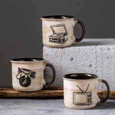 Ceramic Mug Cup Retro Design for Cereal, Milk, Water, Tea, Breakfast Cup with Freehand Sketching, Water Mug with Large Capacity