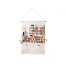 Printed Multiple Pocket Hanging Bag Wall Hanging Bag with Wooden Stick & Cotton Rope Design Storage Bag