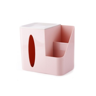 Multifunctional Tissue Box with Multiple Cell & Top Concave Design, Non-skid and Non-abrasive Bottom Pad Tissue Box