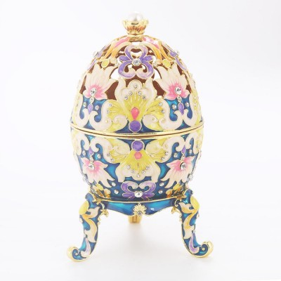 Large-sized Diamond-inlaid  Colored Eggs for Jewelry Boxes, Luxury Ornaments, Metal Crafts Gifts