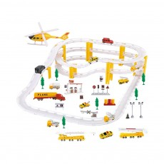 Simulation Model Police Car for Children & Kids, Electric Rail Car Toy Hovering Car Rail Track for 4 – 6 Years Old Boy, Engineering Series Toy