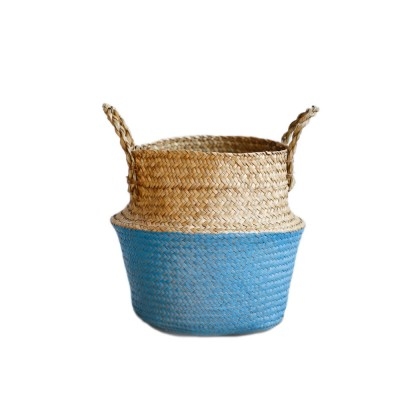 Straw Plait Collapsible Storage Basket to Contain Handle, Green Plant Flower Basket Flower Implement Rattan Woven Home Goods Basket