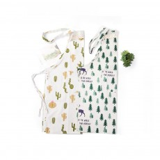 Cotton & Linen Fabric Art Apron with Fresh Pattern & Waterproof & Oil-proof for BBQ, Baking, Cooking for Men & Women