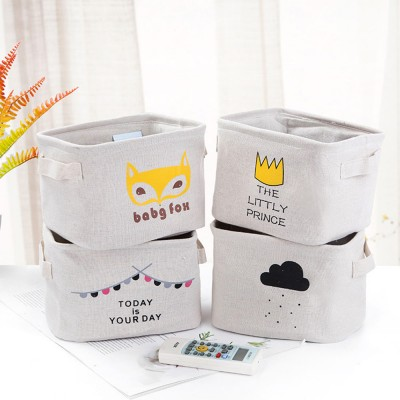 Cartoon Cotton & Linen Household Bedroom Storage Box Storage Basket with  Double Handle for Magazine, Toys, Snacks