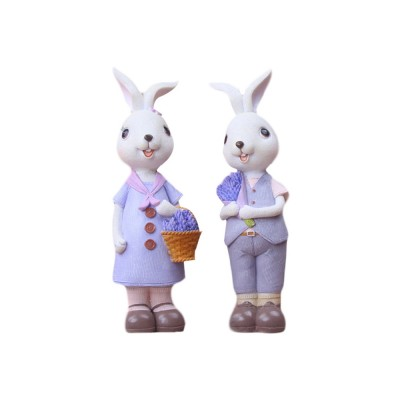 Little Pure Resin Rabbit with Bright Color & Cute Face Expression for Crafts, Couple Gifts Rabbit Creative Decorations, Birthday Gifts