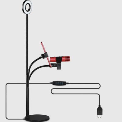 Miraculous 3 In 1 Broadcast Mic Stand With Selfie Ring Light Cellphone Stand Microphone Holder For Live Stream 3 Light Color With Adjustment Gooseneck Weigted Interior Design Ideas Clesiryabchikinfo