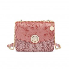 Velvet Chain Small Square Bag, Fashion Versatile Shoulder Messenger Bag, with 