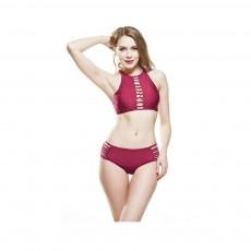 Women Halter Beach Wear Plus Size V Neck Hollow Out Two Pieces Sexy Bikini Bathing Suit Pure Color Swimwear