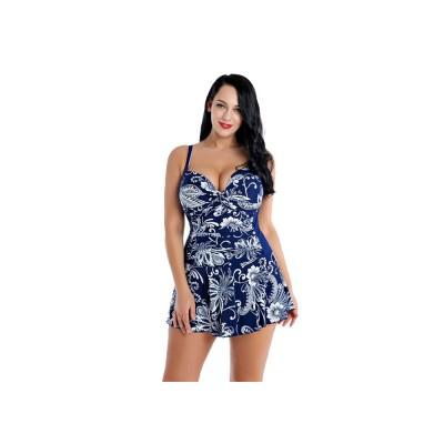 Women Plus Size V-Neck Backless One Piece Skirt Bikini Swimwear Bathing Suit Floral Print Safety Pants Swimsuit